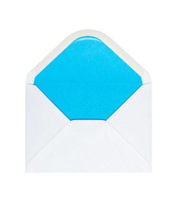Kuvert A6, Weiss mit Futter in Blau