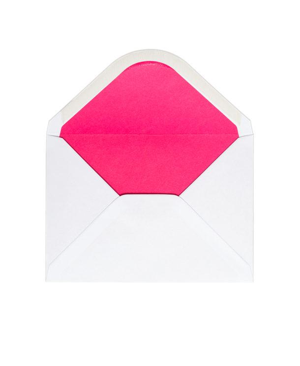 Kuvert A6, Weiss mit Futter in Pink