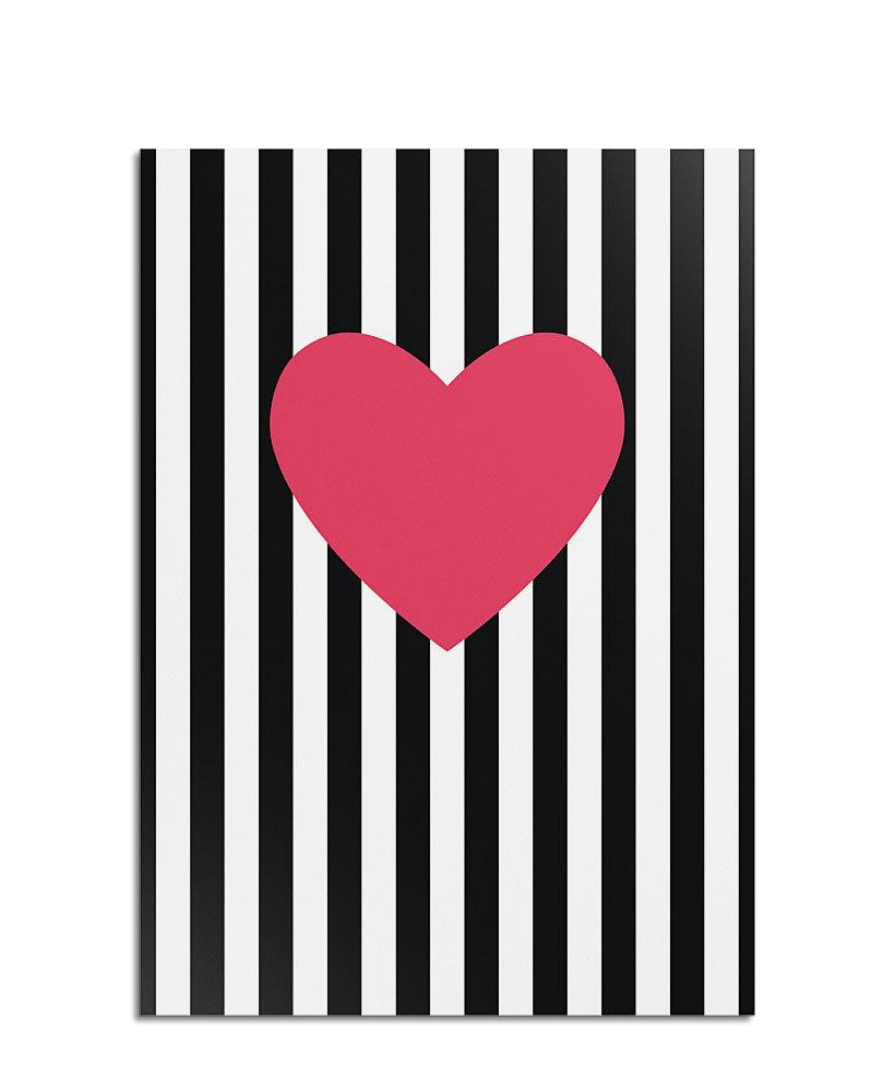 Postkarte Streifen mit Herz