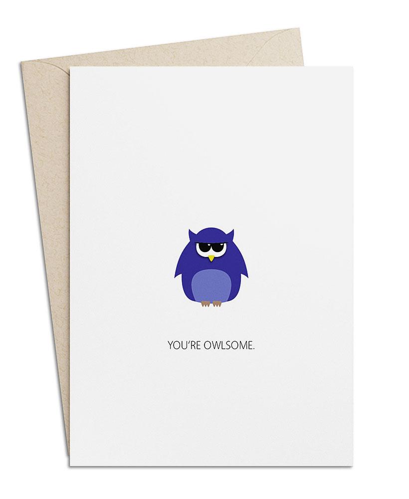 """Grusskarte """"You're owlsome"""""""