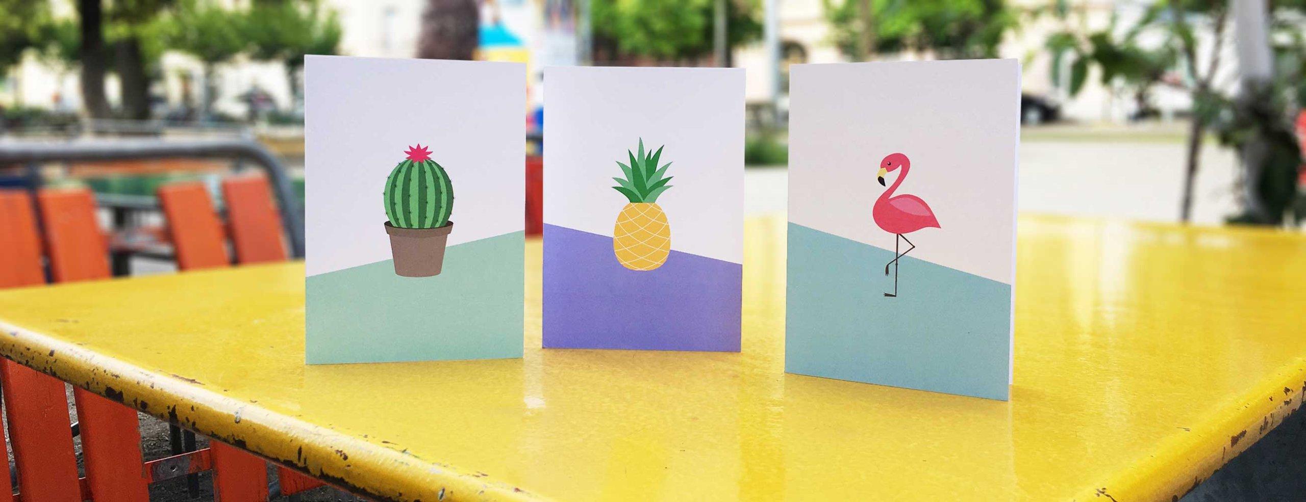 Frühlingskarten: Flamingo, Ananas, Kaktus