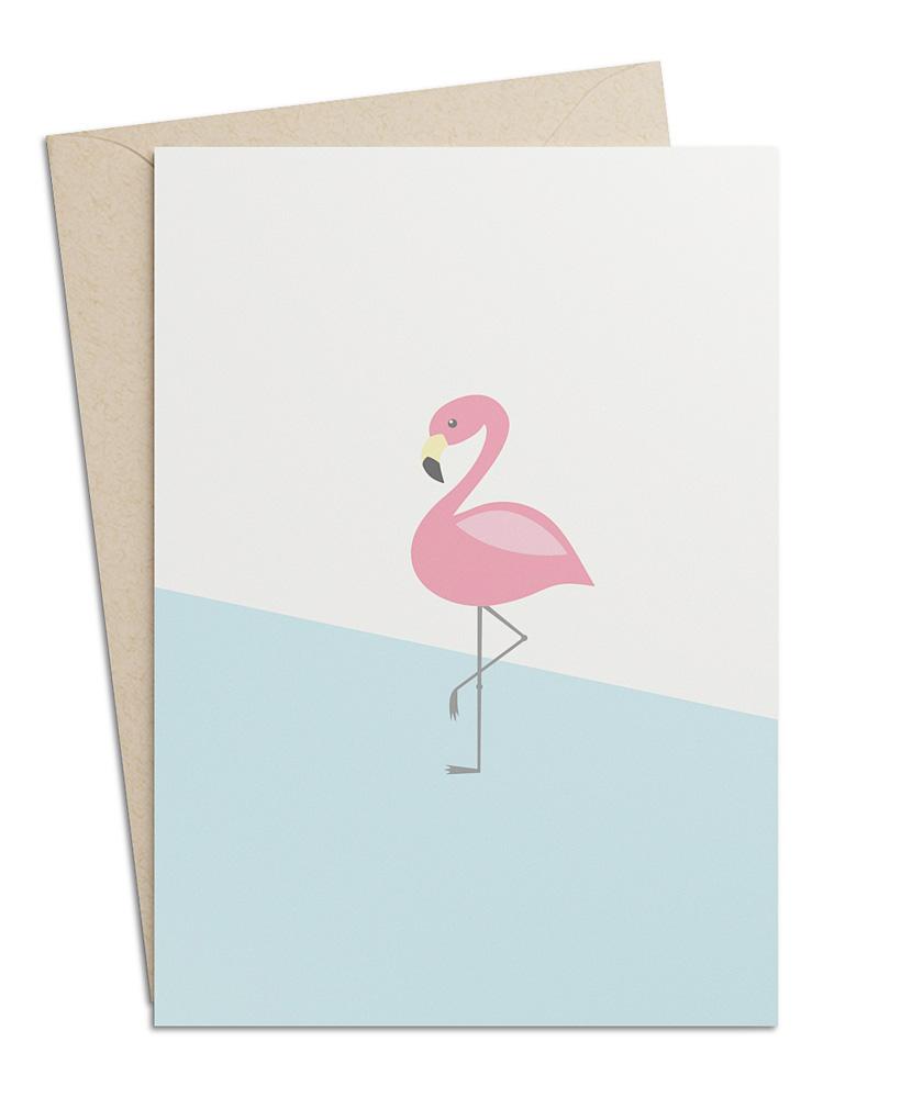 Grusskarte Flamingo