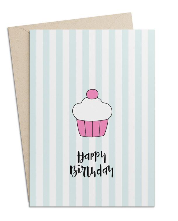 Geburtstagskarte Muffin mit Streifen
