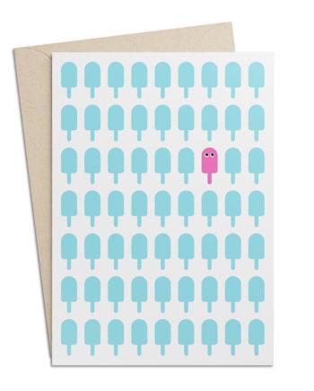 Grusskarte mit Glacé-Motiv Eis am Stiel