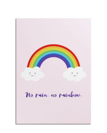 "Postkarte mit Regenbogen-Motiv ""No Rain, no Rainbow"""
