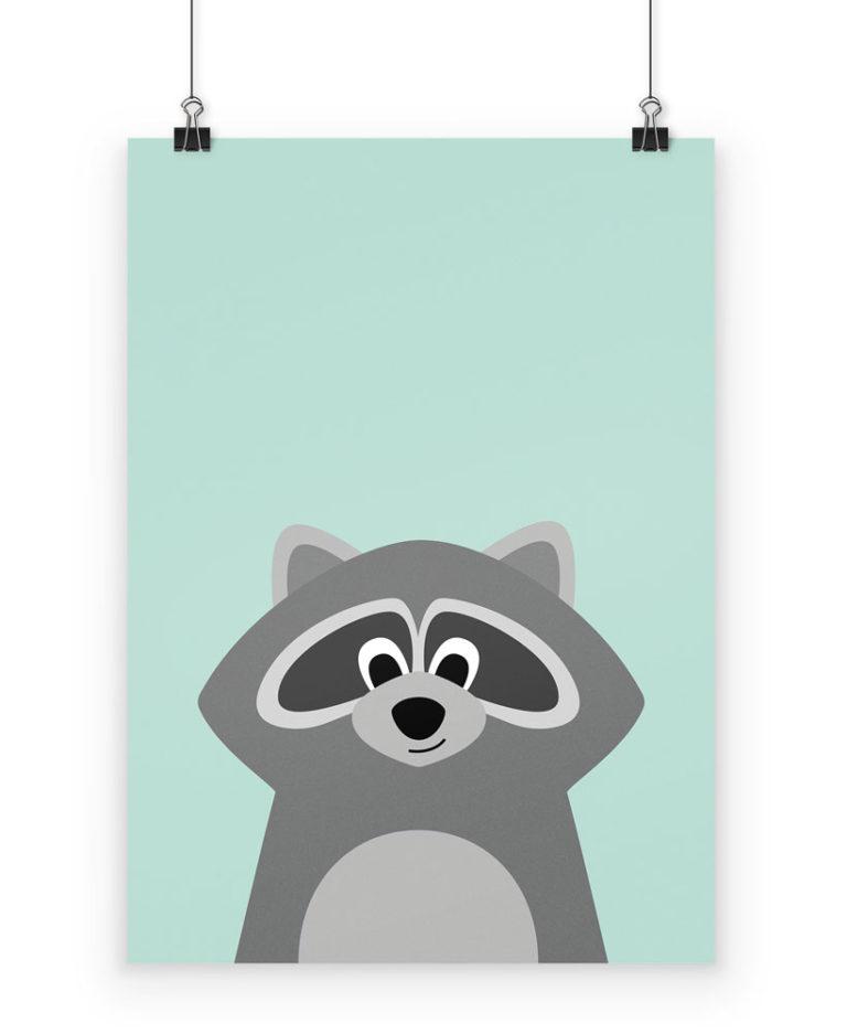 Poster Waschbär fürs Kinderzimmer