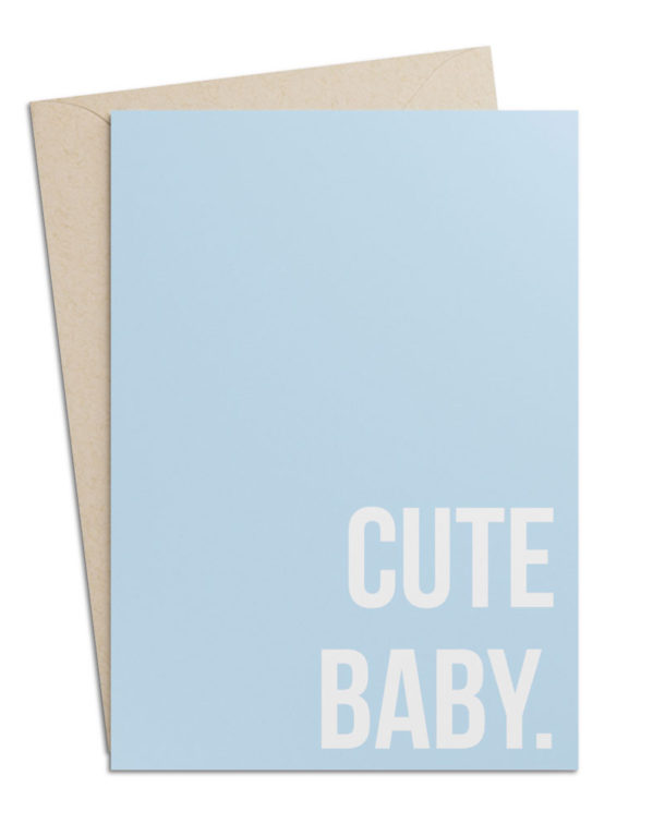 "Babykarte zur Geburt (Hellblau) ""Cute Baby"""