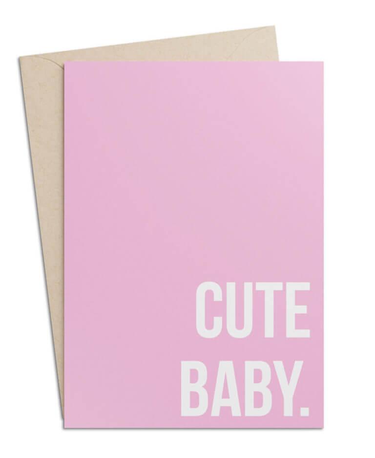 """Babykarte zur Geburt (Rosa) """"Cute Baby"""""""