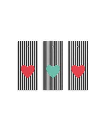 Geschenkanhänger Heart Stripes (Set)