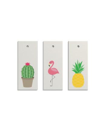 Geschenkanhänger Kaktus, Flamingo, Ananas (Set)