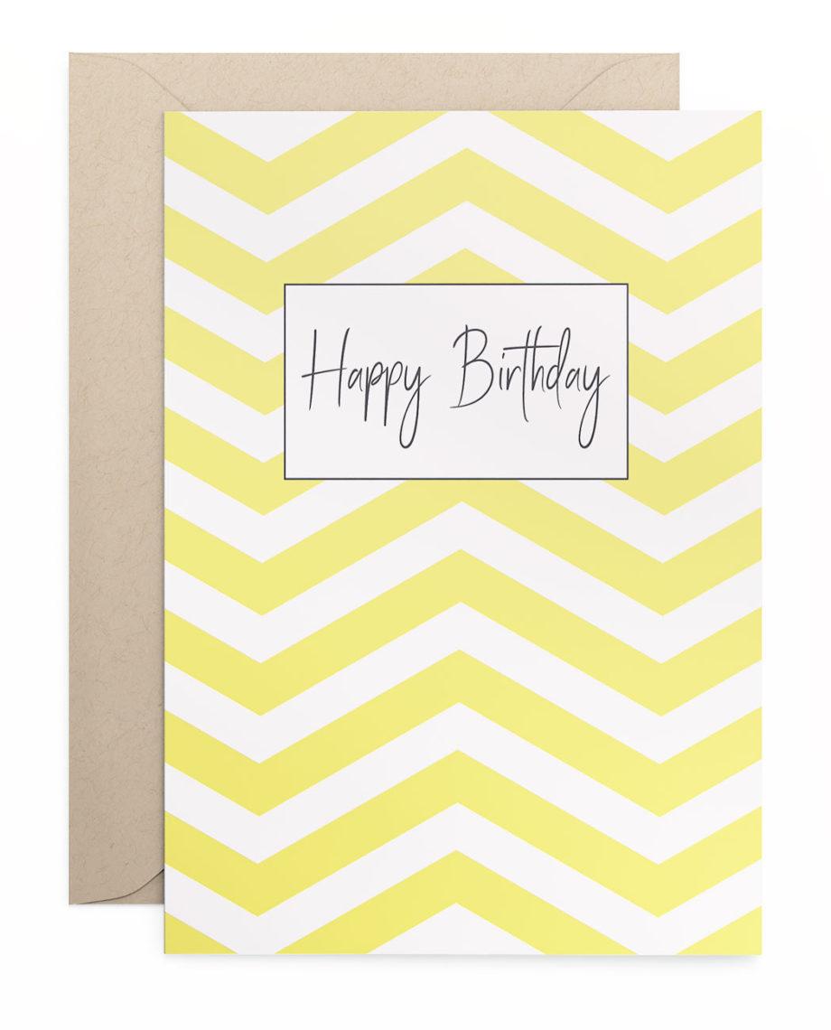 Geburtstagskarte Klappkarte Happy Birthday Chevron