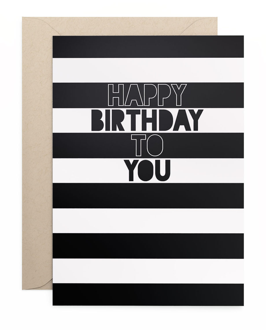 Grusskarte Klappkarte Happy Birthday Stripes
