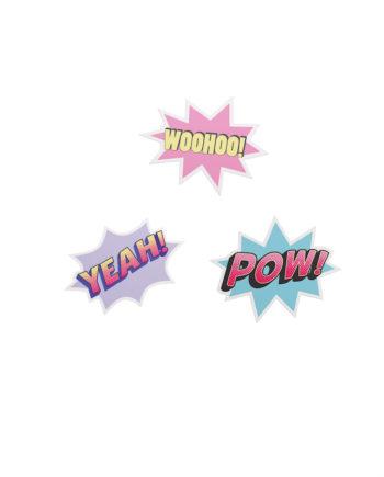 3 Sticker im Comic-Stil
